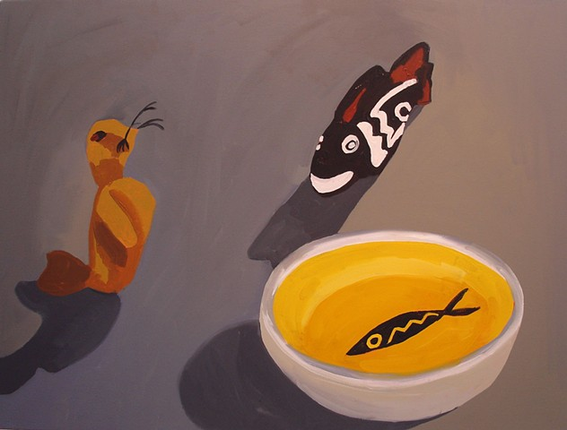 Oil Painting of seal finger puppet, fish whistle and fish bowl.