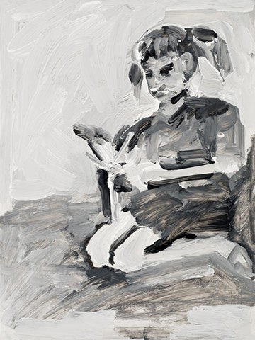 drawing of a girl playing with a doll