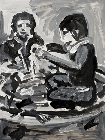 a drawing of two girls playing with dolls like barbie