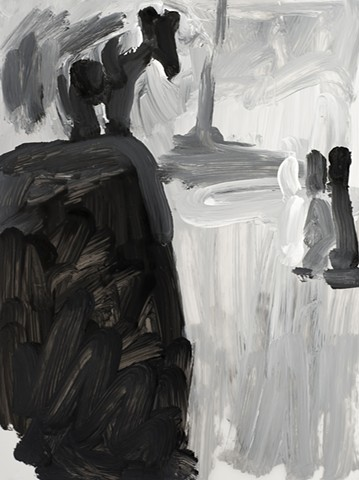 black and white painting of an animal looking over the edge
