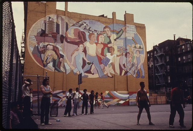 Circa 1973 Belkin Mural and Community in park