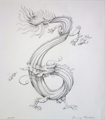 Leaving Chinatown Chinese Dragon NYC pencil on paper illustration Denise Penizzotto