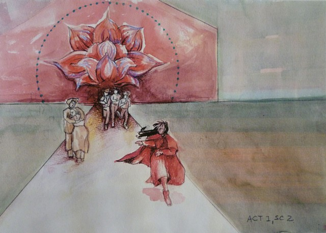 Yeshe, Queen of Tibet opera stage renderings Scene 1 Act 2