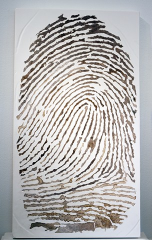 Fingerprint in mixed media by Janet Williams