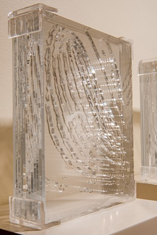 Laminated Plexiglas fingerprint by Janet Williams