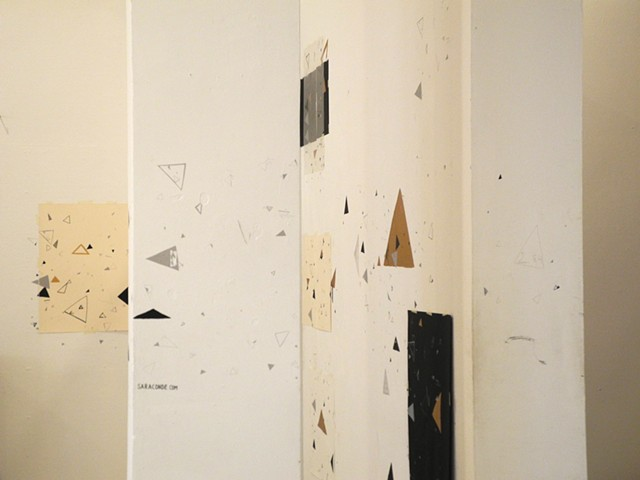 Triangles: White, Black and Copper. Drawing and Printmaking Installation