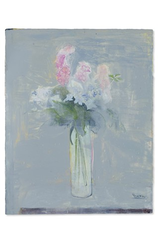 Flowers on Grey Table