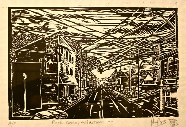 woodcut, john carruthers, middletown, ny