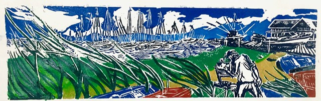 woodcut, Nantucket, Plein air painter