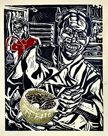 Lino block print, Nantucket scene, Sweet Inspirations, Chocolate store