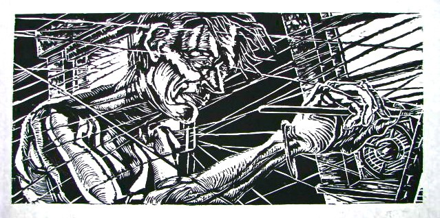 David Lazarus, woodcut