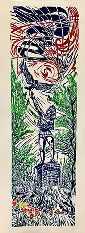 The Falconer, Central Park Sculpture, woodcut