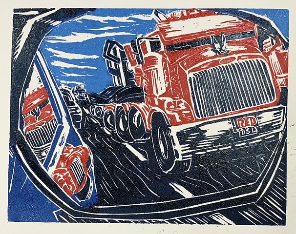 lino block print, Big rigs, trucking