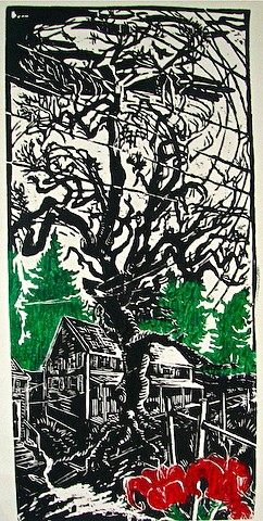 woodcut, Quaker Meeting House, Cornwall-on-Hudson