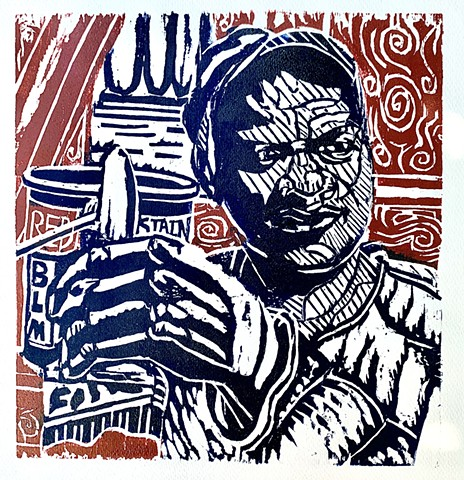 Nantucket Art, woodcuts of John Carruthers, Downtown Nantucket, Nantucket Workers
