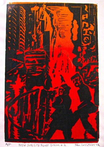 NYC Fever Dream woodcut