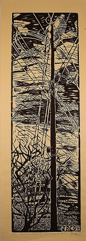 Mountain top telephone pole woodcut