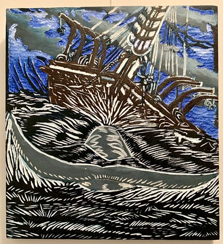woodcut, Whaleship Essex, Wreck of the Essex, Moby Dick