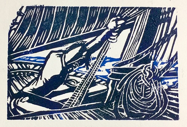 woodcut of The Lynx, tall ship of a sailor hauling a line. by John Carruthers