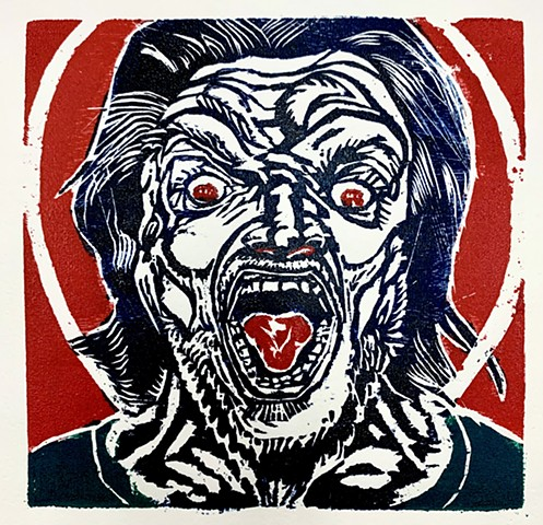 Saint Scream woodcut 2020 images