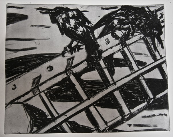 solar plate etching, crows