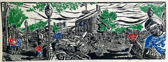 Nantucket, Main st. Woodcut, July