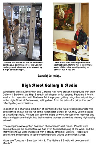 Pop-up gallery in Winchester's High Street