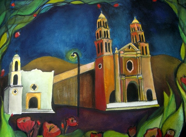 Cathedral Mission watercolor Juarez Mexico