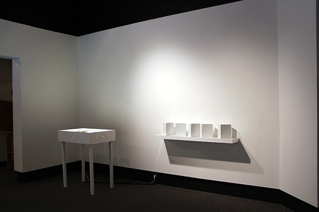 100 Spaces From All The Places I've Ever Lived (Installation View of 5 Stereoscopic Image Viewers on Shelf)