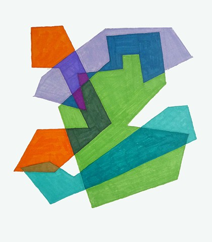 Cosenza Color/shape Study Blue/Orange/Fuchsia/Green