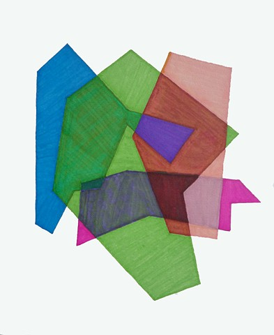 Cosenza Color/shape Study Blue/Green/Pale Pink/ Fuchsia