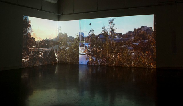 "Installation View from ""two simultaneous recordings of four simultaneous images"""