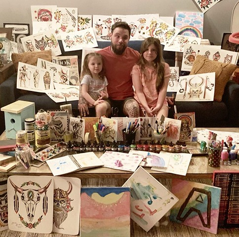 """A Tattooer and His Girls"" Jeff Slack and daughters by Hanna Simpson"