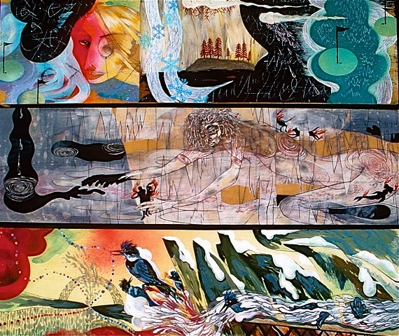 triptych of paintings by Julie McNiel