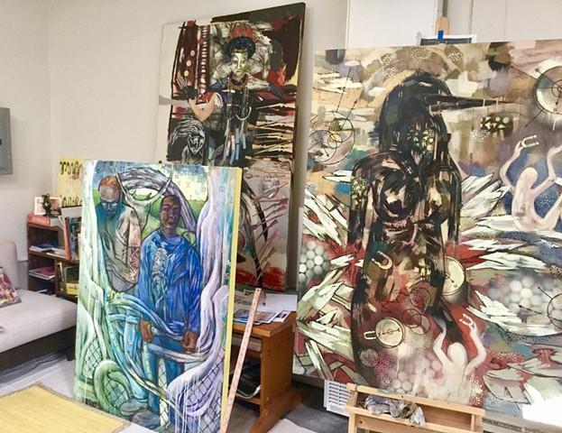 Paintings in the studio, in-progress.