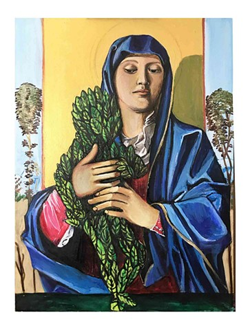 Feminist artwork inspired by Italian Renaissance paintings of Madonna and Child, showing a woman with fruit, waves, stars, flowers, trees and animals. Painted by JL Maxcy