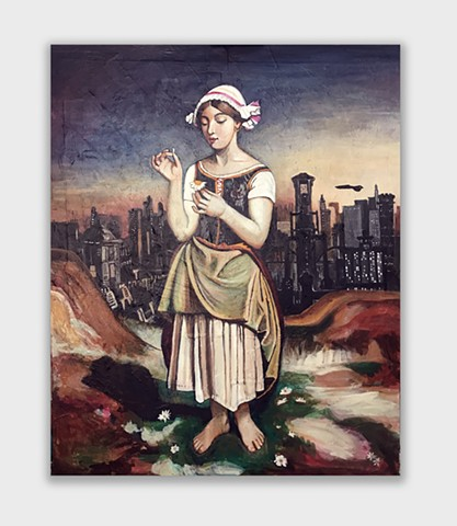 An original painting of a 17th century peasant in a futuristic dystopian society. Painted by JL Maxcy