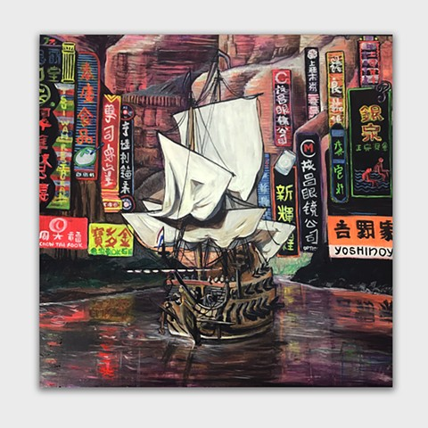 An original painting of a 17th century dutch ship surrounded by grand canyon and neon signs. Painted by JL Maxct