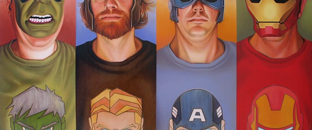 Portrait of the Artist's monthly Risk game group as the Avengers