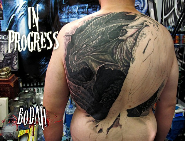 Bodah, Tattoo, Tattoosby Bodah, Bodah Ink ,Bodahink, dragon, in process