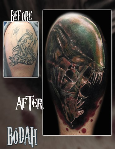 Best Tattoo Toledo Ohio, Ohio's Best Tattoo Artist, Toledo's Best Tattoo Artist, Toledo Ohio Tattoo, Amazing Tattoos, Amazing Tattoo, Best Realism Artist Bodah, Bodah Toledo Ohio Best Tattoo, coverup tattoo, cover-up tattoo,alien tattoo,xenomorph tattoo,
