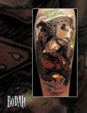 Best Tattoo Toledo Ohio, Ohio's Best Tattoo Artist, Toledo's Best Tattoo Artist, Toledo Ohio Tattoo, Amazing Tattoos, Amazing Tattoo, Best Realism Artist Bodah, Bodah Toledo Ohio Best Tattoo, rocketeer tattoo, comic tattoo, the rocketeer tattoo, color tat