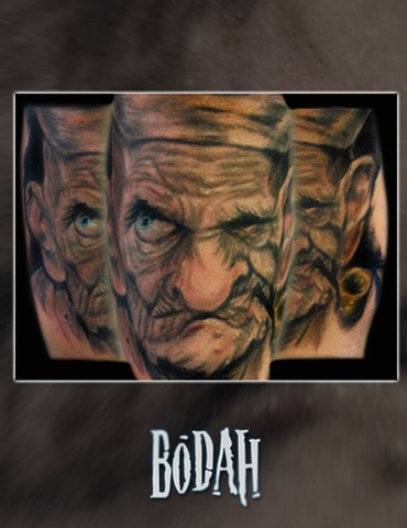 Best Tattoo Toledo Ohio, Ohio's Best Tattoo Artist, Toledo's Best Tattoo Artist, Toledo Ohio Tattoo, Amazing Tattoos, Amazing Tattoo, Best Realism Artist Bodah, Bodah Toledo Ohio Best Tattoo, popeye tattoo, rick baker popeye tattoo, old man popeye tattoo,