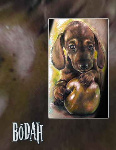 Best Tattoo Toledo Ohio, Ohio's Best Tattoo Artist, Toledo's Best Tattoo Artist, Toledo Ohio Tattoo, Amazing Tattoos, Amazing Tattoo, Best Realism Artist Bodah, Bodah Toledo Ohio Best Tattoo, puppy apple tattoo, puppy portrait, dachshund puppy tattoo, col