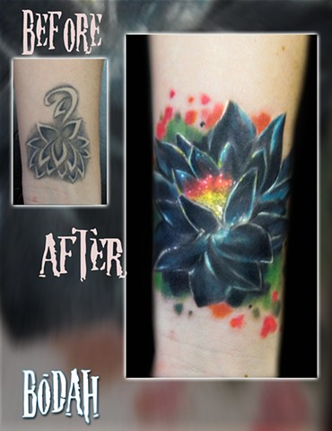 Best Tattoo Toledo Ohio, Ohio's Best Tattoo Artist, Toledo's Best Tattoo Artist, Toledo Ohio Tattoo, Amazing Tattoos, Amazing Tattoo, Best Realism Artist Bodah, Bodah Toledo Ohio Best Tattoo, coverup tattoo, cover-up tattoo, lotus flower tattoo, color tat