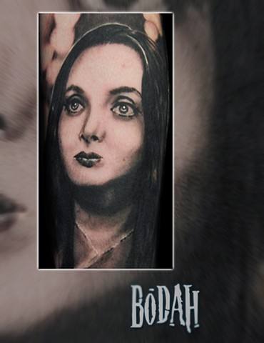 Best Tattoo Toledo Ohio, Ohio's Best Tattoo Artist, Toledo's Best Tattoo Artist, Toledo Ohio Tattoo, Amazing Tattoos, Amazing Tattoo, Best Realism Artist Bodah, Bodah Toledo Ohio Best Tattoo, Morticia Addams tattoo, Morticia portrait tattoo, black and gre