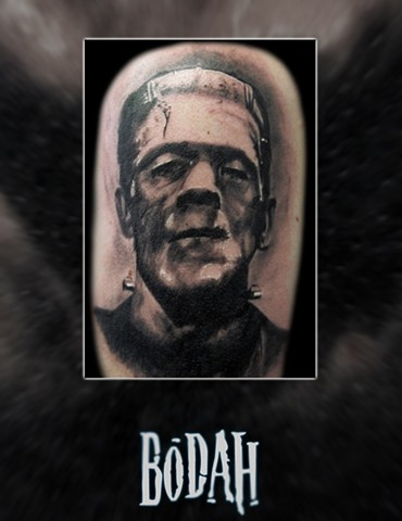 Best Tattoo Toledo Ohio, Ohio's Best Tattoo Artist, Toledo's Best Tattoo Artist, Toledo Ohio Tattoo, Amazing Tattoos, Amazing Tattoo, Best Realism Artist Bodah, Bodah Toledo Ohio Best Tattoo, frankenstein tattoo, classic horror tattoo, black and grey real