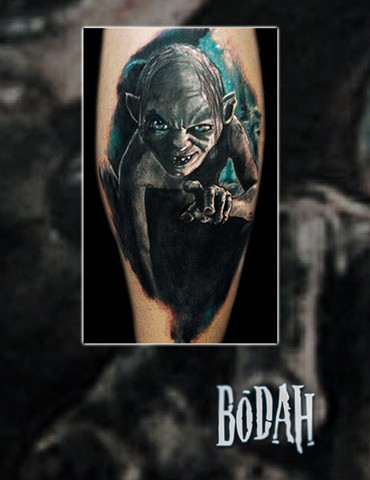 Best Tattoo Toledo Ohio, Ohio's Best Tattoo Artist, Toledo's Best Tattoo Artist, Toledo Ohio Tattoo, Amazing Tattoos, Amazing Tattoo, Best Realism Artist Bodah, Bodah Toledo Ohio Best Tattoo, hobbit tattoo, golem tattoo, lotr tattoo, smigel tattoo, movie