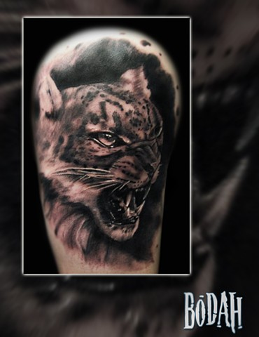 Best Tattoo Toledo Ohio, Ohio's Best Tattoo Artist, Toledo's Best Tattoo Artist, Toledo Ohio Tattoo, Amazing Tattoos, Amazing Tattoo, Best Realism Artist Bodah, Bodah Toledo Ohio Best Tattoo, leopard tattoo, animal portrait, black and grey realism, snow l