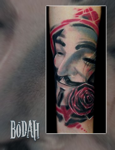 Best Tattoo Toledo Ohio, Ohio's Best Tattoo Artist, Toledo's Best Tattoo Artist, Toledo Ohio Tattoo, Amazing Tattoos, Amazing Tattoo, Best Realism Artist Bodah, Bodah Toledo Ohio Best Tattoo, V for Vendetta Bodah Bodahink Tattoos by Bodah Guy Fawkes V  bo